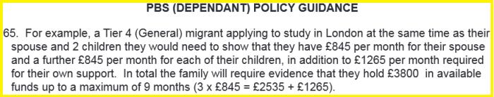 deposit visa dependant uk